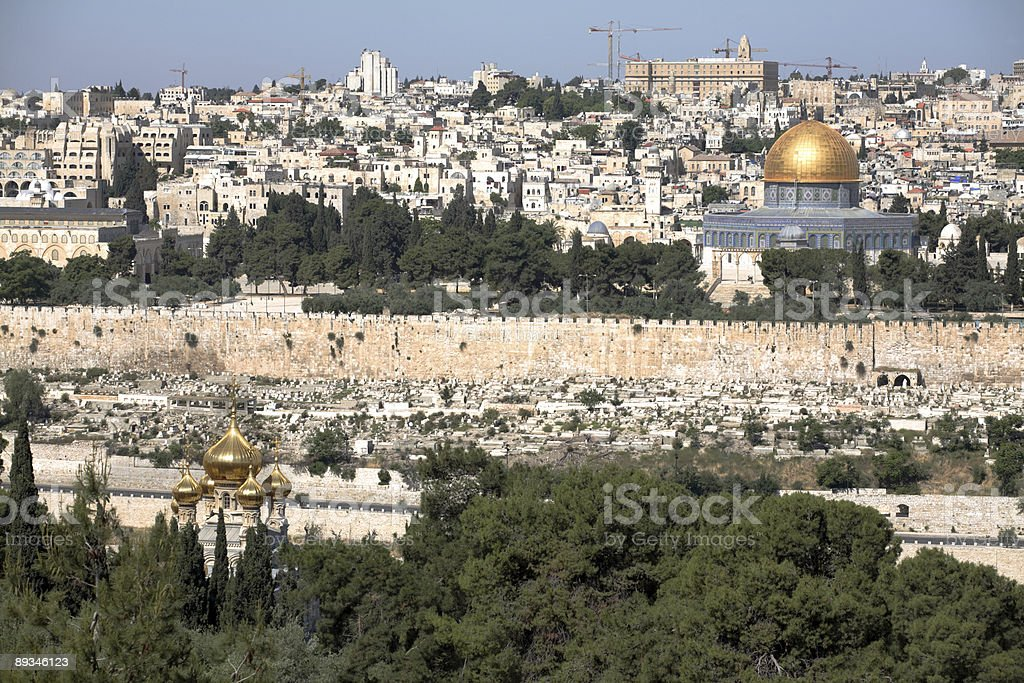 Dome of the Rock & Mary Magdalene church royalty-free stock photo