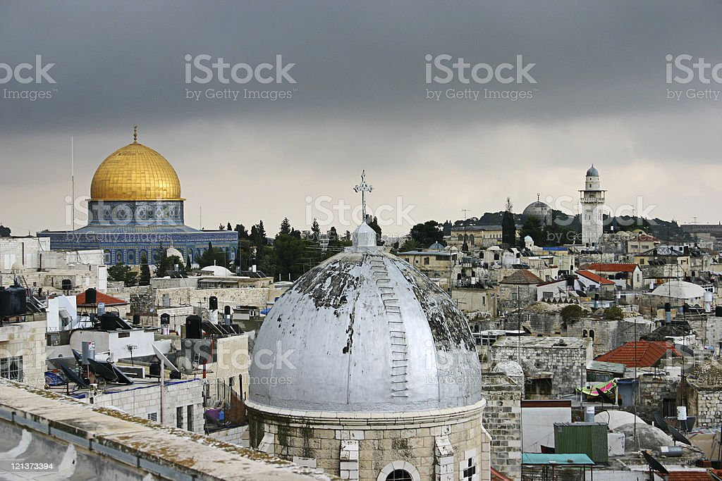 Dome of the rock on a cloudy day royalty-free stock photo