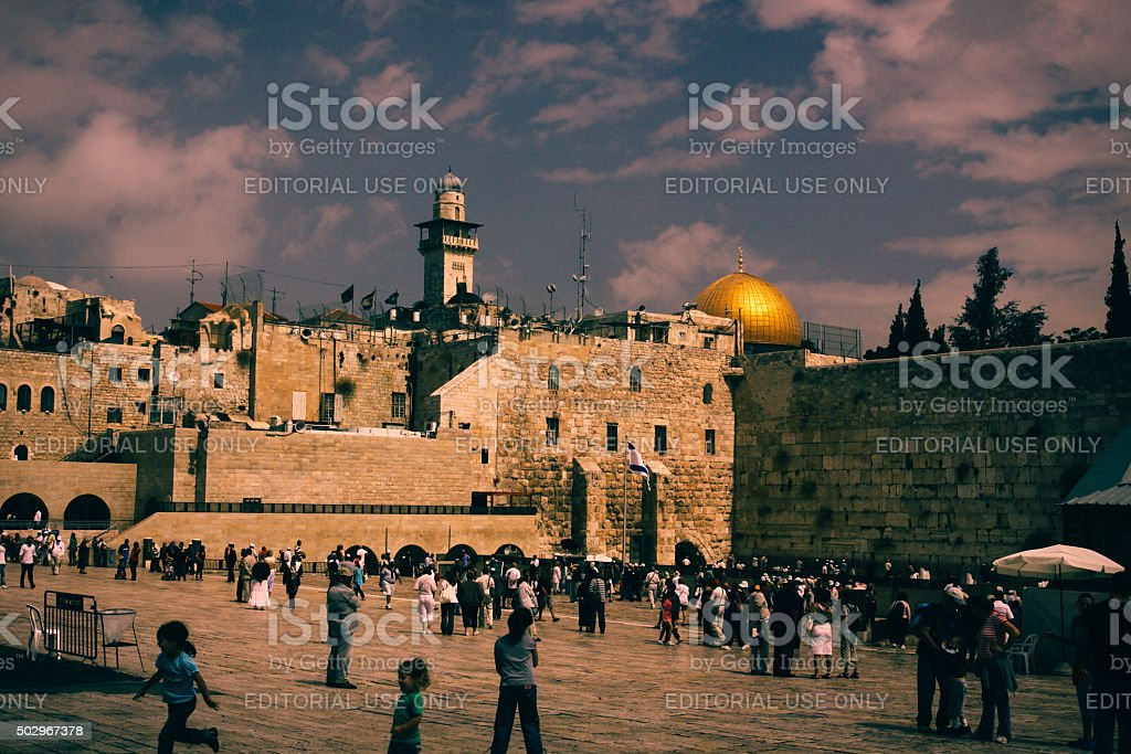 Dome of the Rock, Western Wall in Jerusalem Old City stock photo