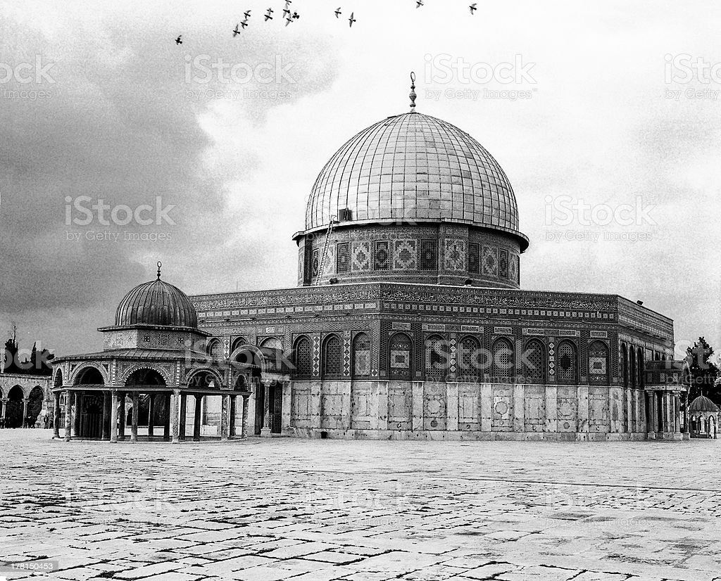 Dome Of The Rock With Black Birds royalty-free stock photo