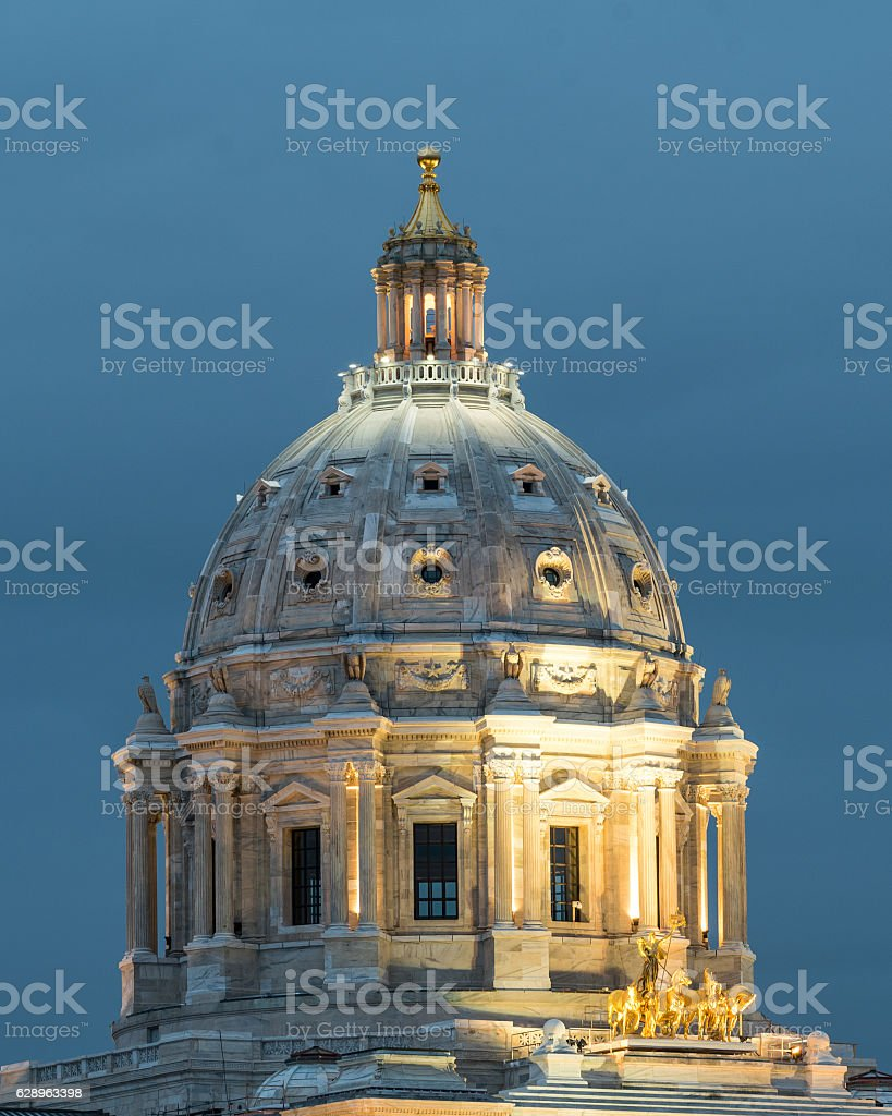 Dome of the State Capitol of Minnesota at Twilight stock photo