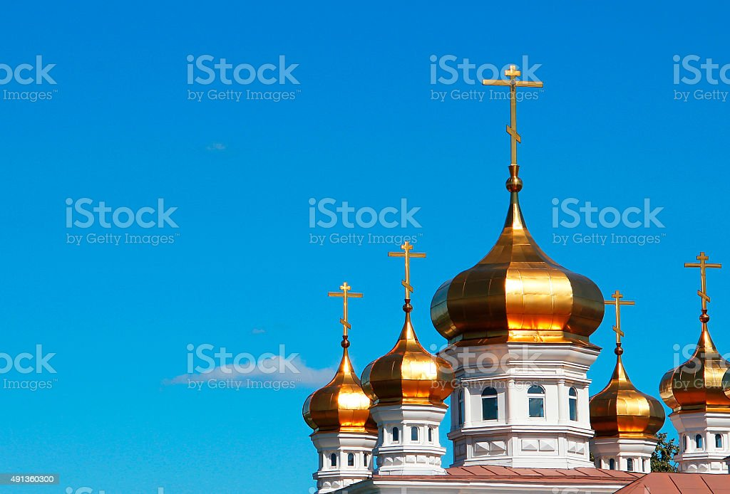 Dome of the temple with crosses stock photo