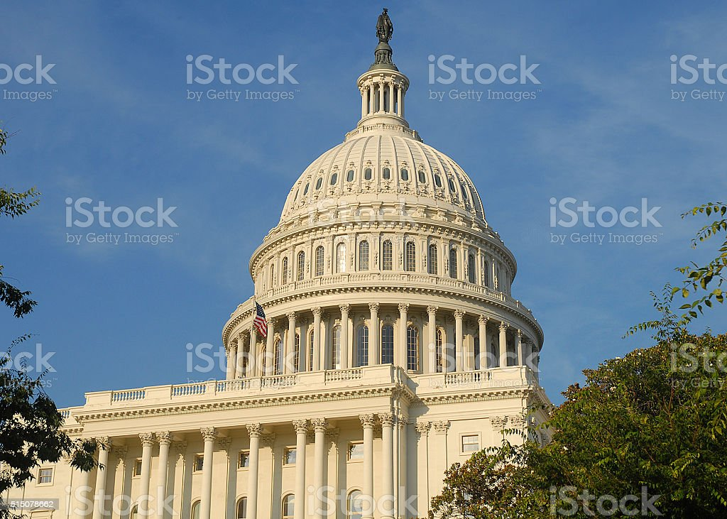 Dome of United States Capitol Building in Washington, DC stock photo