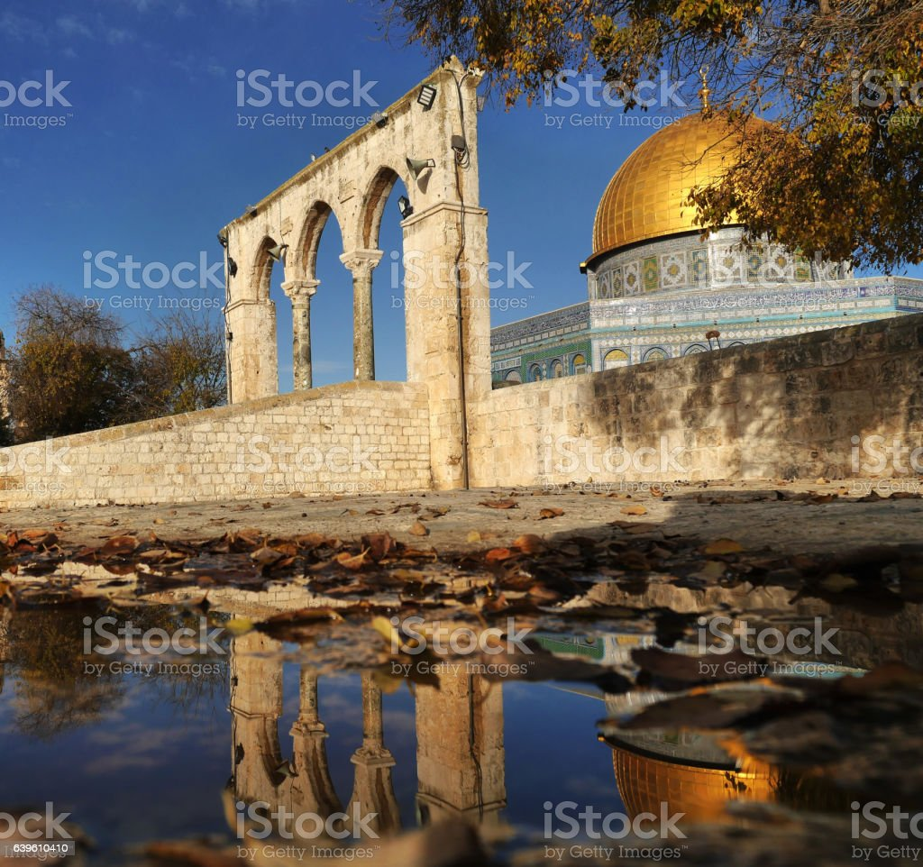 Dome-  of_the_Rock_SouthEast_Reflection stock photo