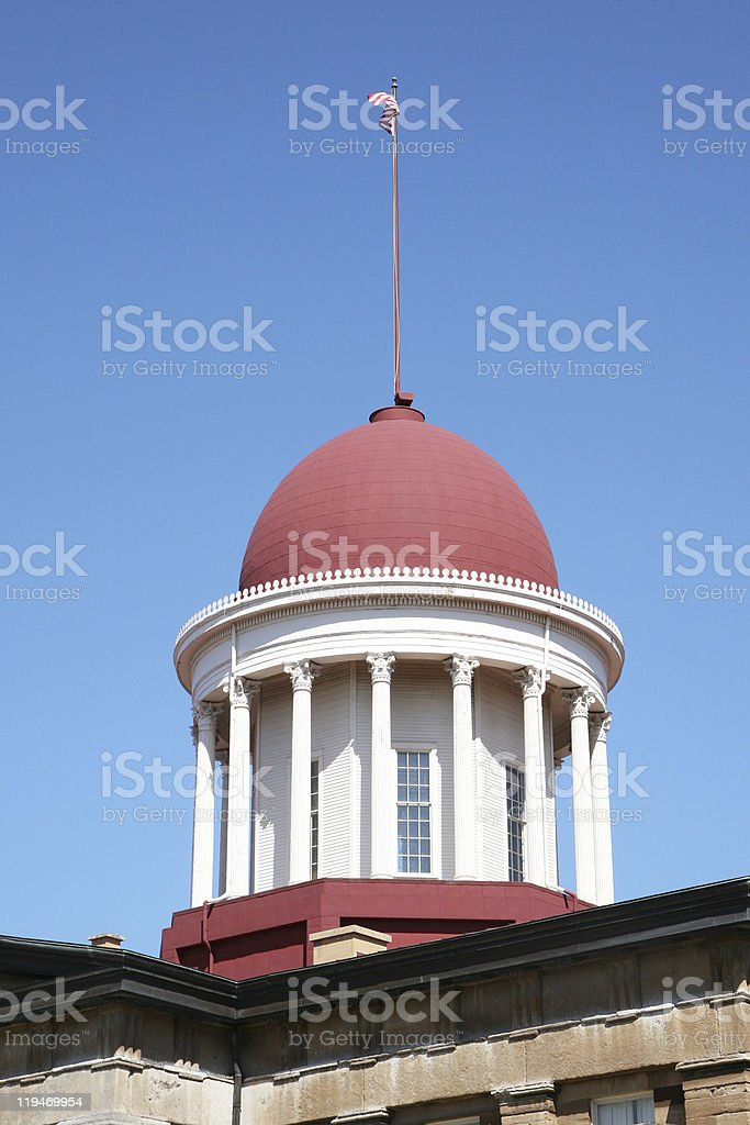 Dome on old Illinois state capitol stock photo
