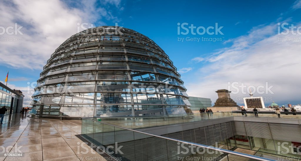 Dome on the German Paliament Reichtag in Berlin stock photo