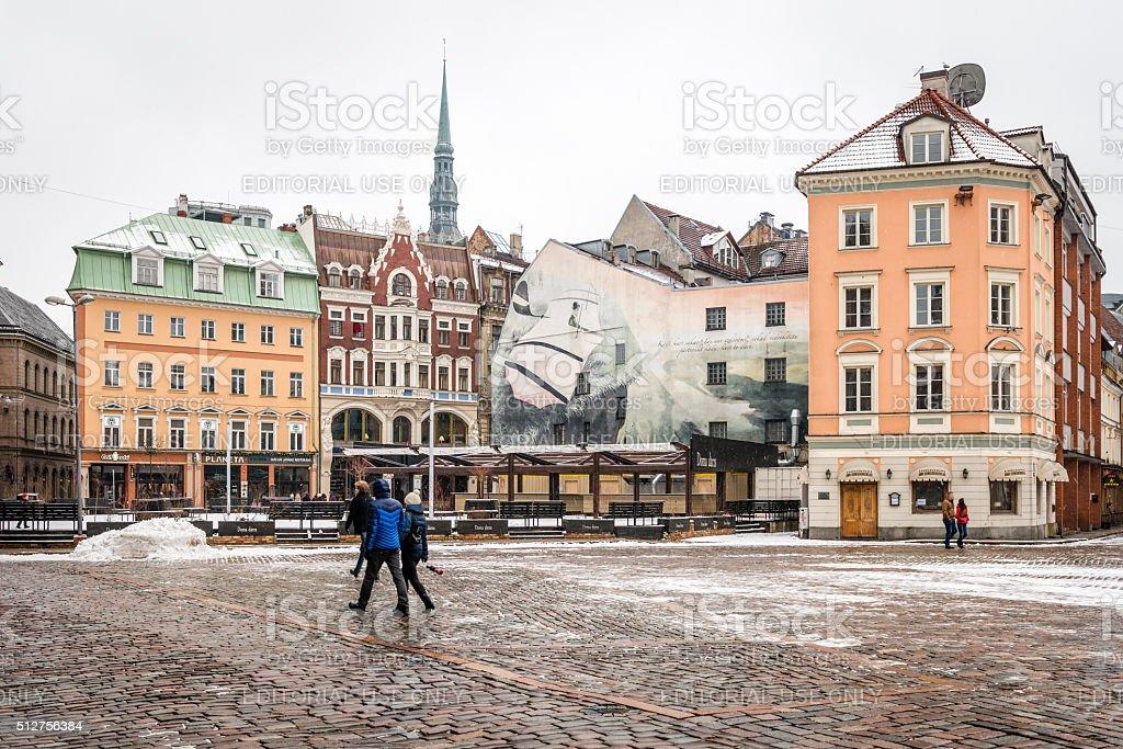 Dome Square in the old city of Riga, Latvia stock photo