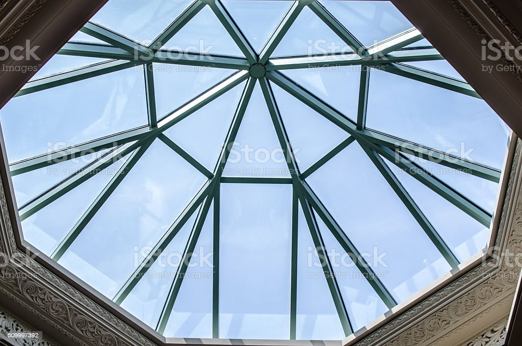 Domed skylight with intricate moulding stock photo