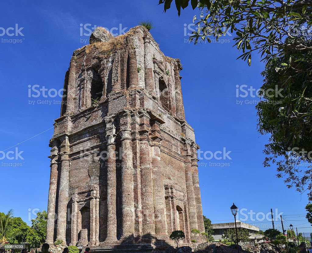 Domeless Belfry of St. Andrew Church- Ilocos Norte, Philippines stock photo