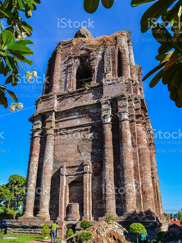 Domeless Leaning Bell Tower of Bacarra Church - Philippines stock photo