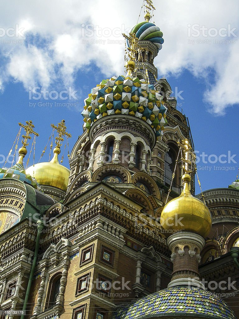 Domes Church of Our Savior on the Spilled Blood royalty-free stock photo