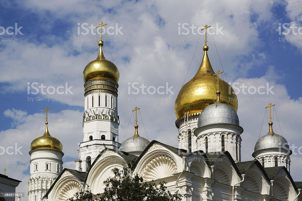 Domes of Archangel's Cathedral and The Ivan the Great Belltower stock photo