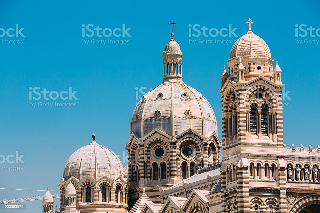 Domes of Cathedral de la Major in Marseille, France. stock photo
