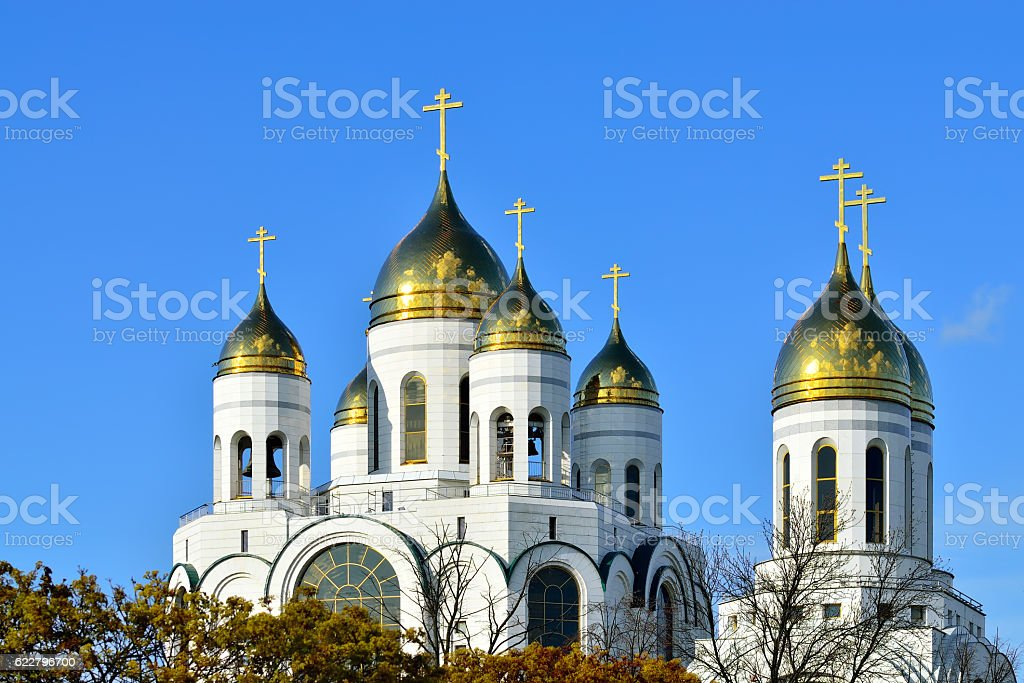 Domes of church Christ the Savior. Kaliningrad, Russia stock photo