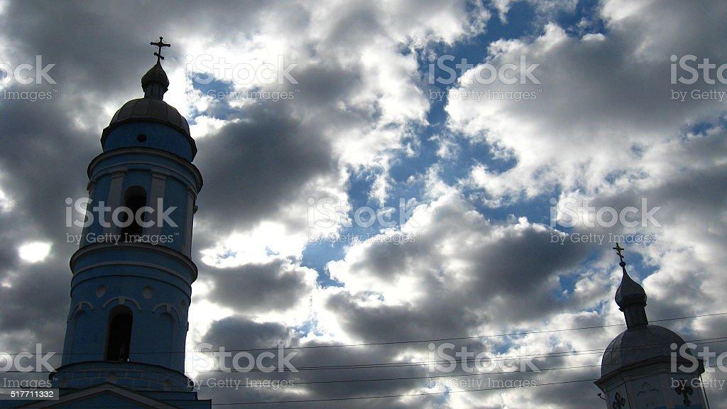 domes of church on the dark sky stock photo