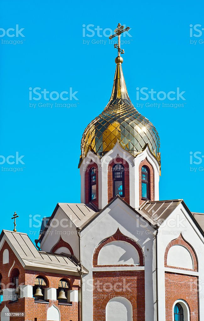 Domes of orthodox church against the blue sky royalty-free stock photo