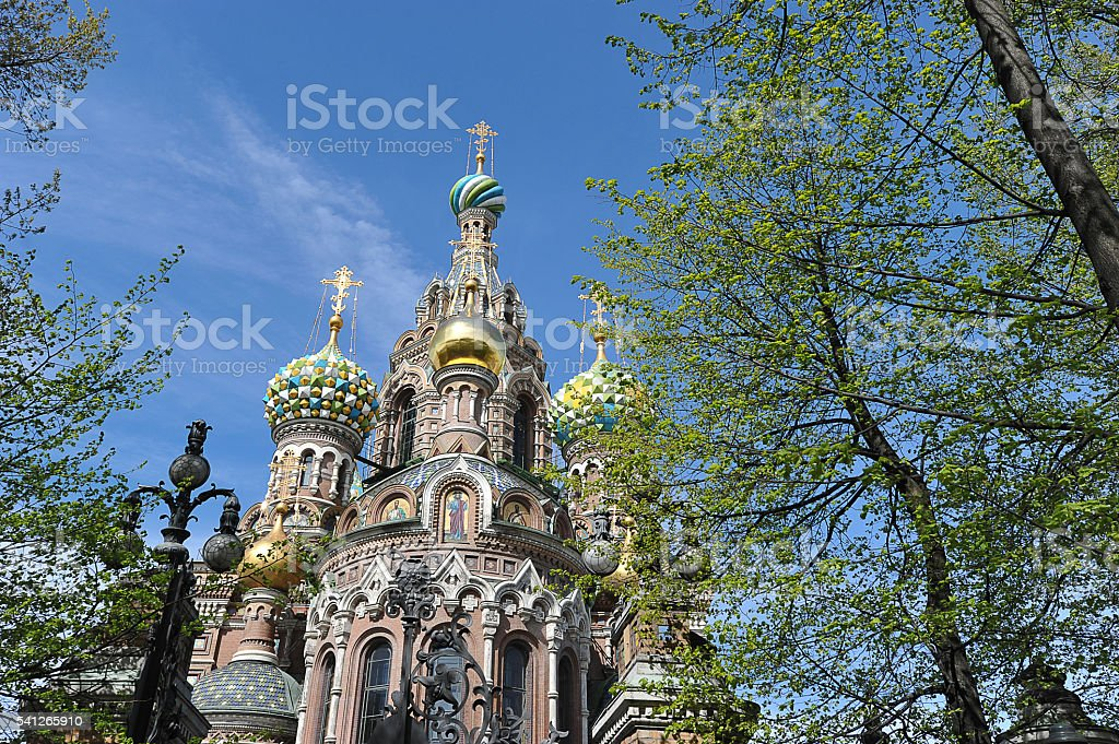 domes of Orthodox Church of the Savior on blood stock photo