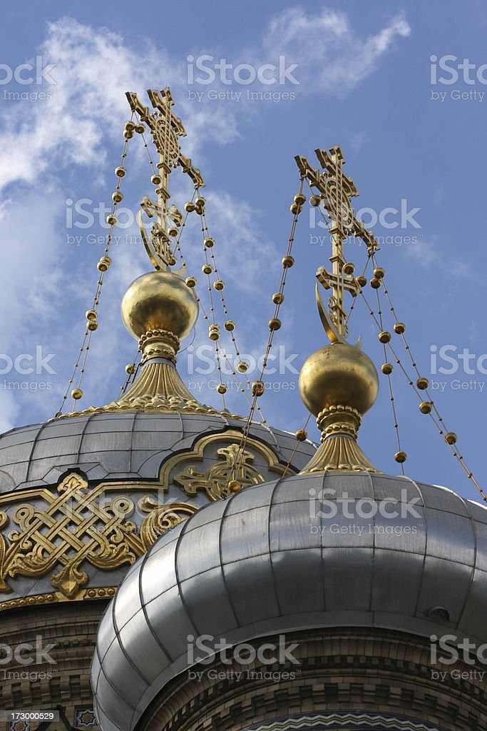 Domes of Russian Orthodox Church (St. Petersburg, Russia) royalty-free stock photo