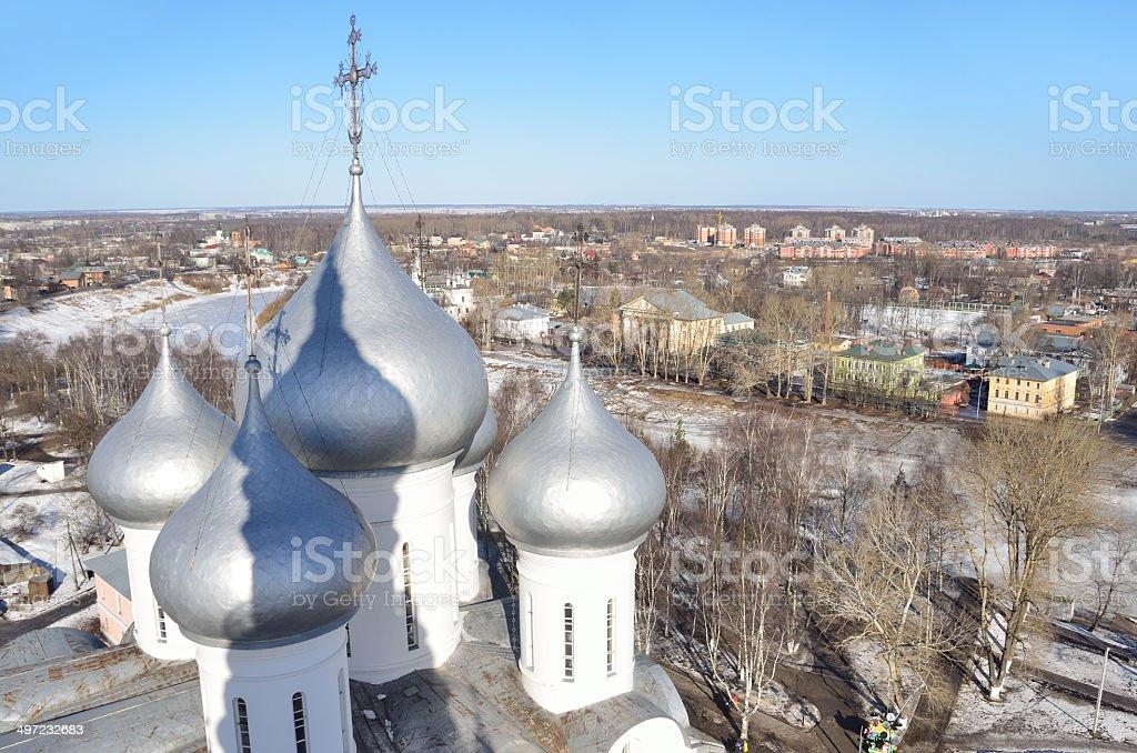 Domes of Sofiysky cathedral  in Vologda stock photo