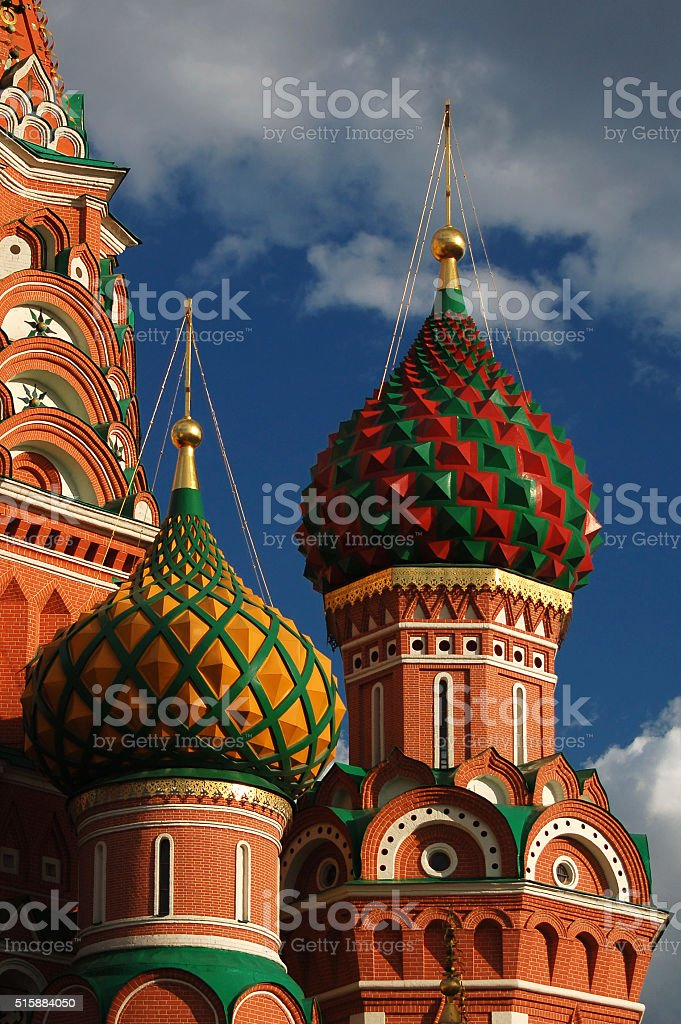 Domes of St. Basil's Cathedral on Red Square in Moscow stock photo