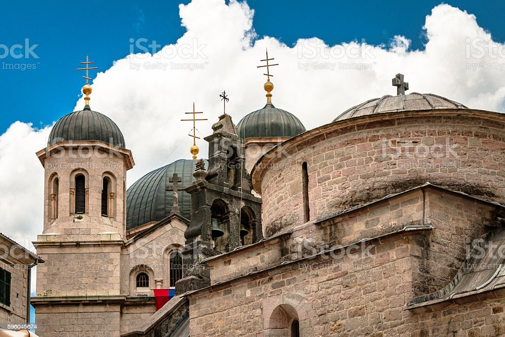 Domes of St. Nicholas in Kotor stock photo