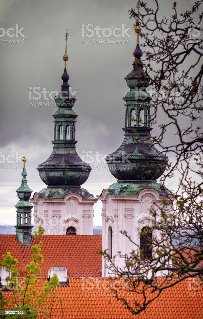 Domes of Strahov Monastery, Prague stock photo