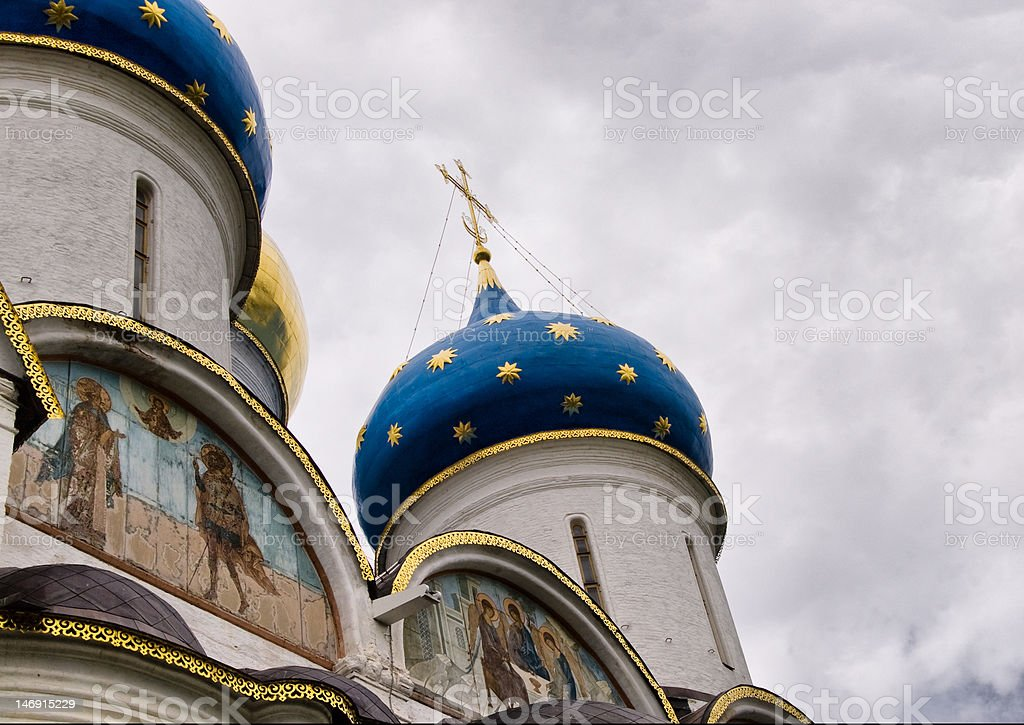 Domes of the ancient cathedral royalty-free stock photo
