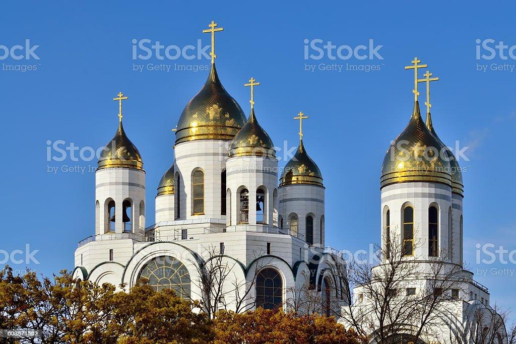 Domes of the church  Christ the Savior. Kaliningrad, Russia stock photo
