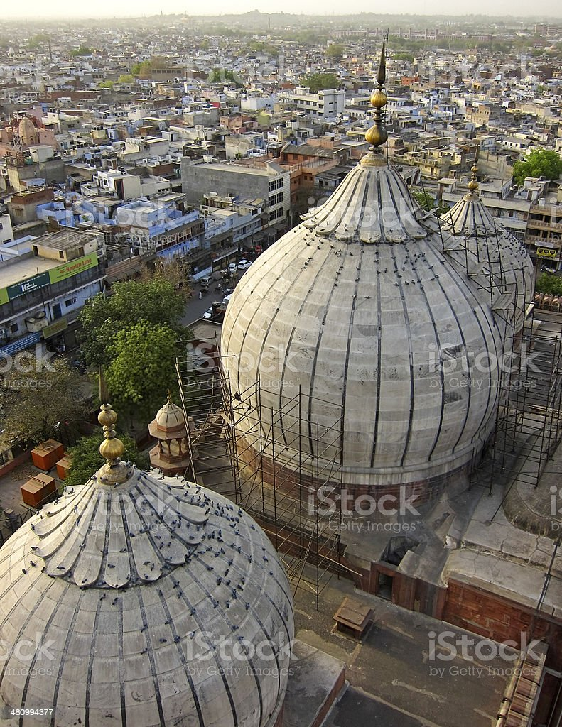 Domes of the Jama Mashid mosque in New Delhi stock photo