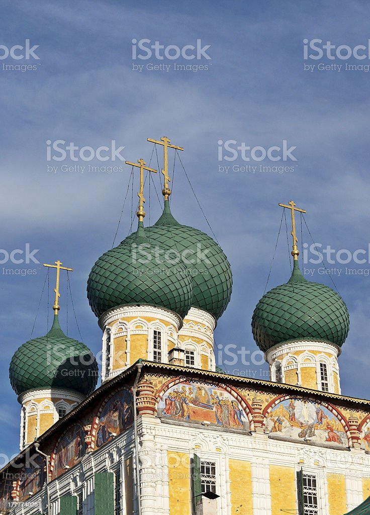Domes of the Resurrection Cathedral in Tutaev, Russia royalty-free stock photo