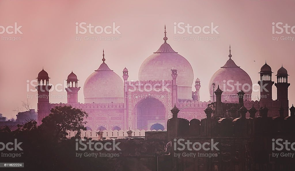 Domes of the The Badshahi Mosque stock photo