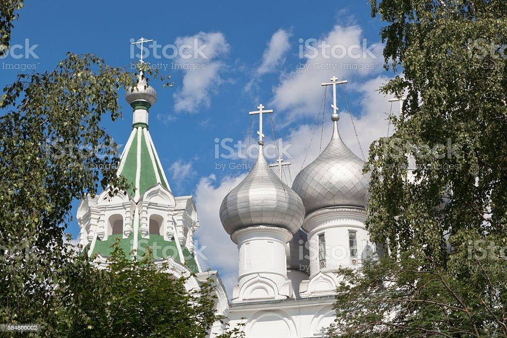 Domes of the Tsarekonstantinovsky church in the city of Vologda stock photo