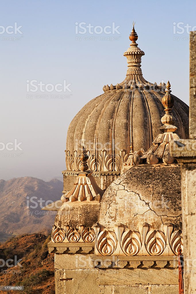 Domes on guest rooms Kumbhalghar Fort stock photo