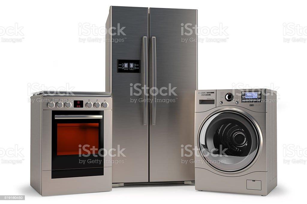 domestic appliances,Washer, refrigerator, stove stock photo