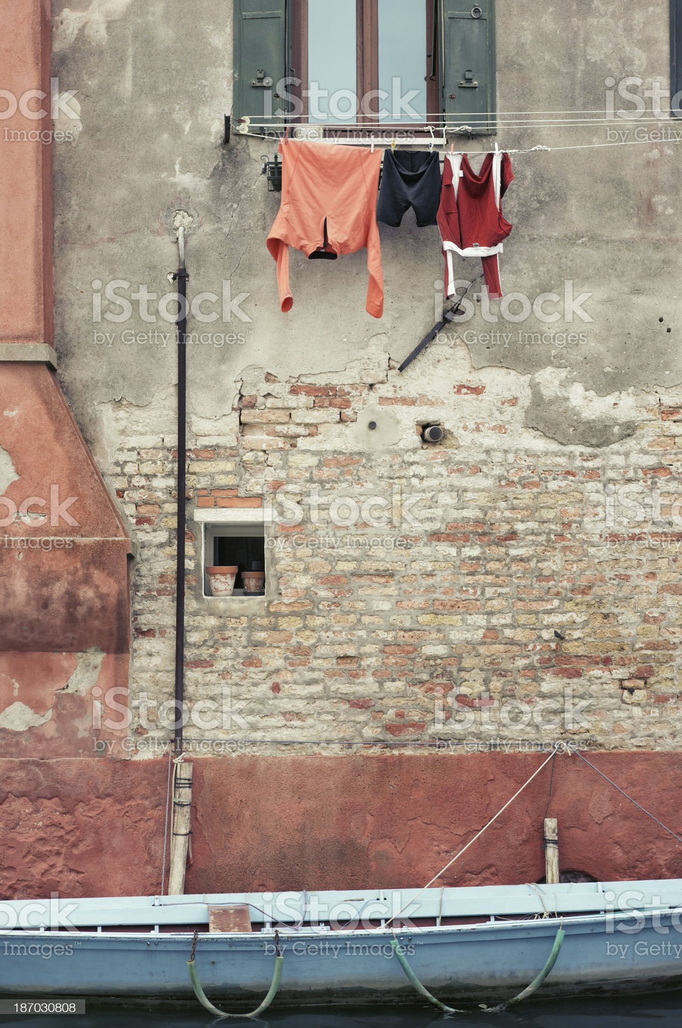 Domestic Clothes line in Venice, Italy royalty-free stock photo