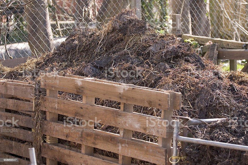 Domestic compost heap in a garden stock photo