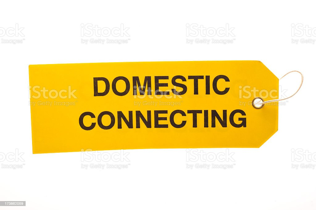 Domestic Connecting Luggage Tag stock photo