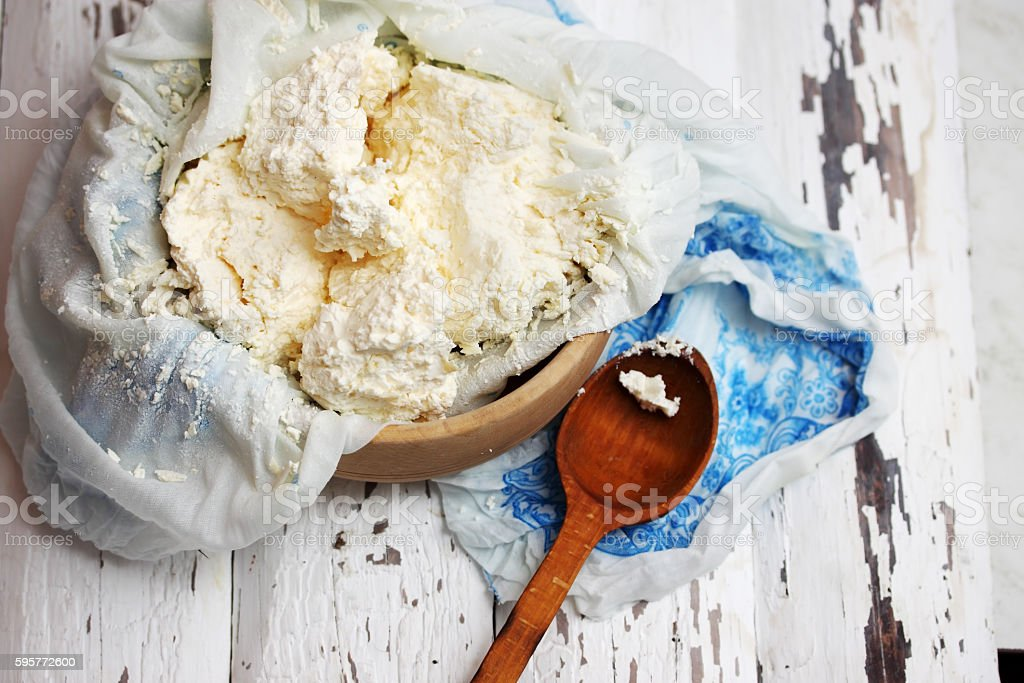 domestic cottage cheese stock photo
