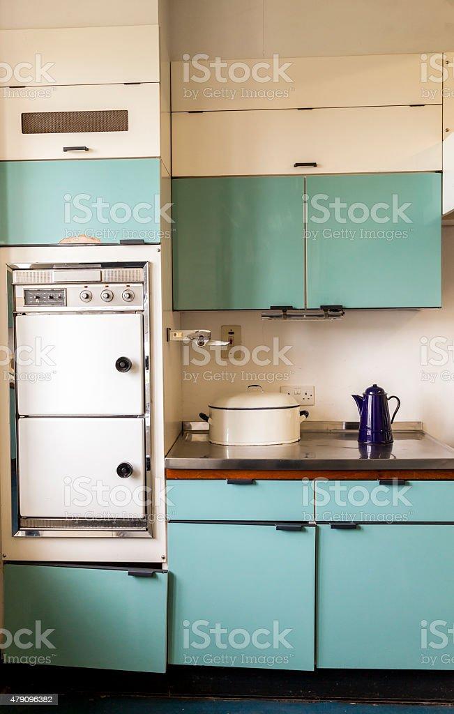 Domestic Kitchen 1960s period stock photo
