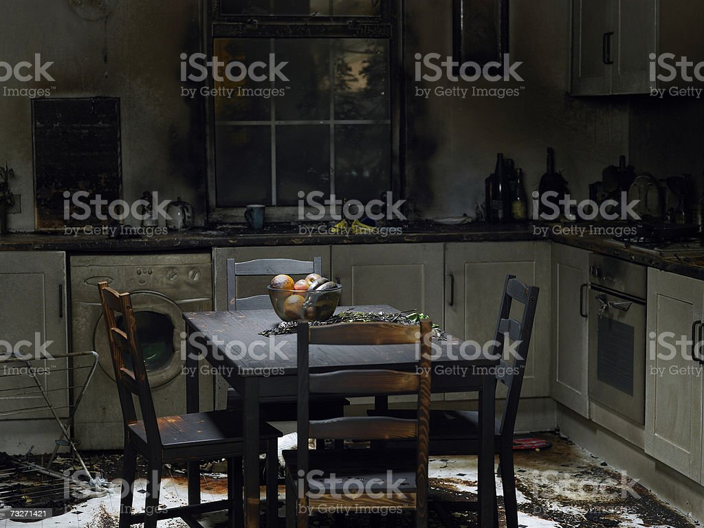 Domestic kitchen burnt in fire stock photo