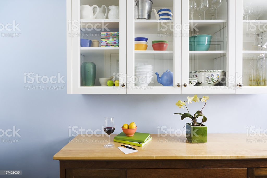 Domestic Kitchen Counter Top and Cabinet Display of Neat Organization stock photo