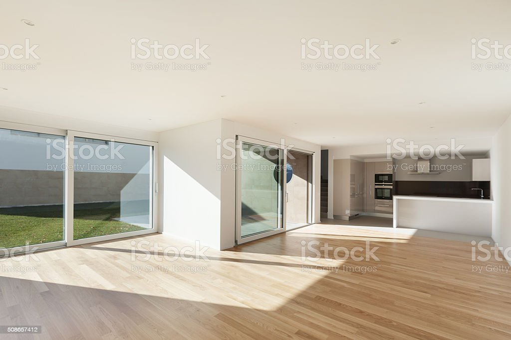 domestic kitchen in large room stock photo