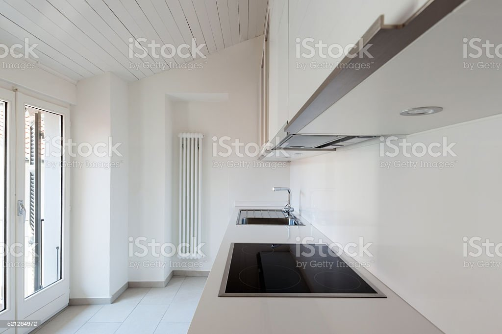 domestic kitchen in old loft stock photo
