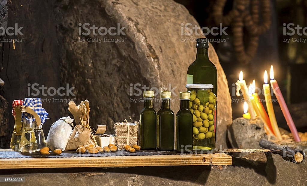 Domestic products of Mediterrenean stock photo