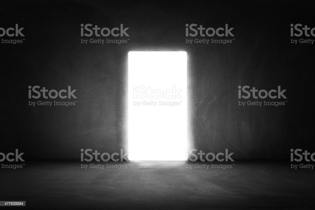 Domestic room with  opened door to exit stock photo