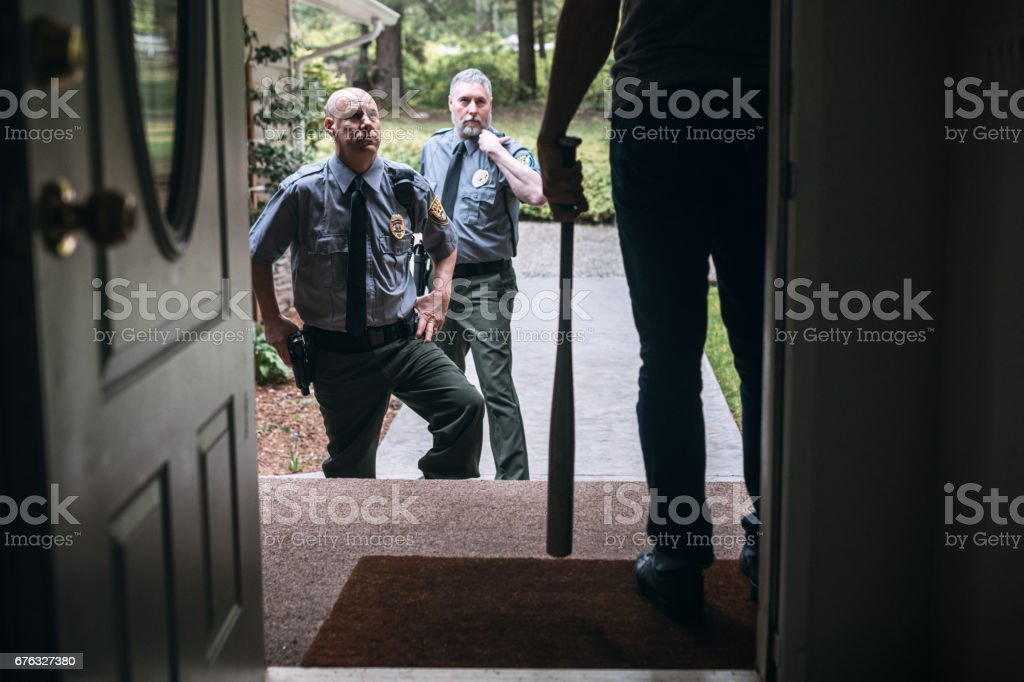 Domestic Violence and Police Responders stock photo