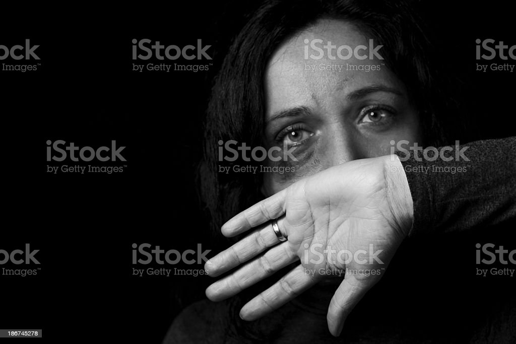 Domestic violence victim stock photo