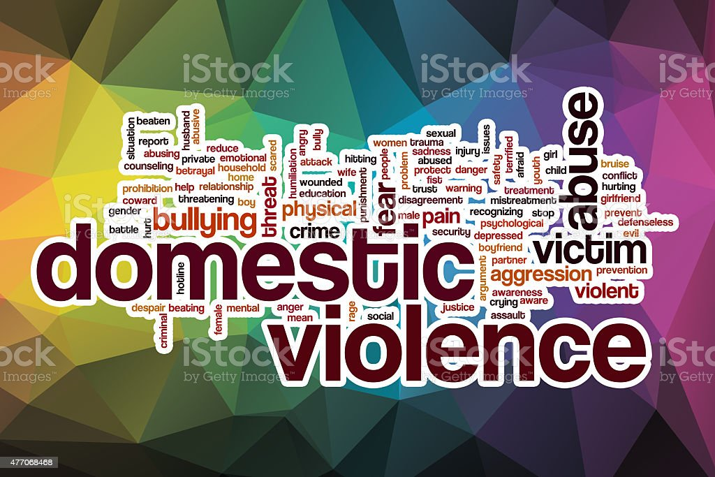 Domestic violence word cloud with abstract background stock photo