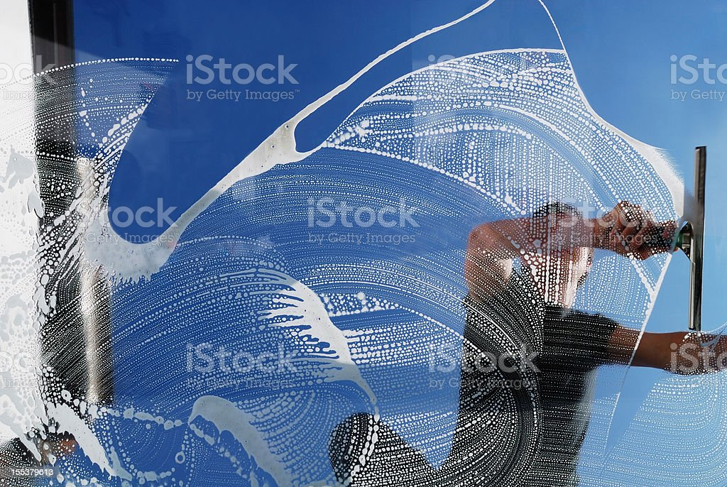 Domestic window cleaner stock photo