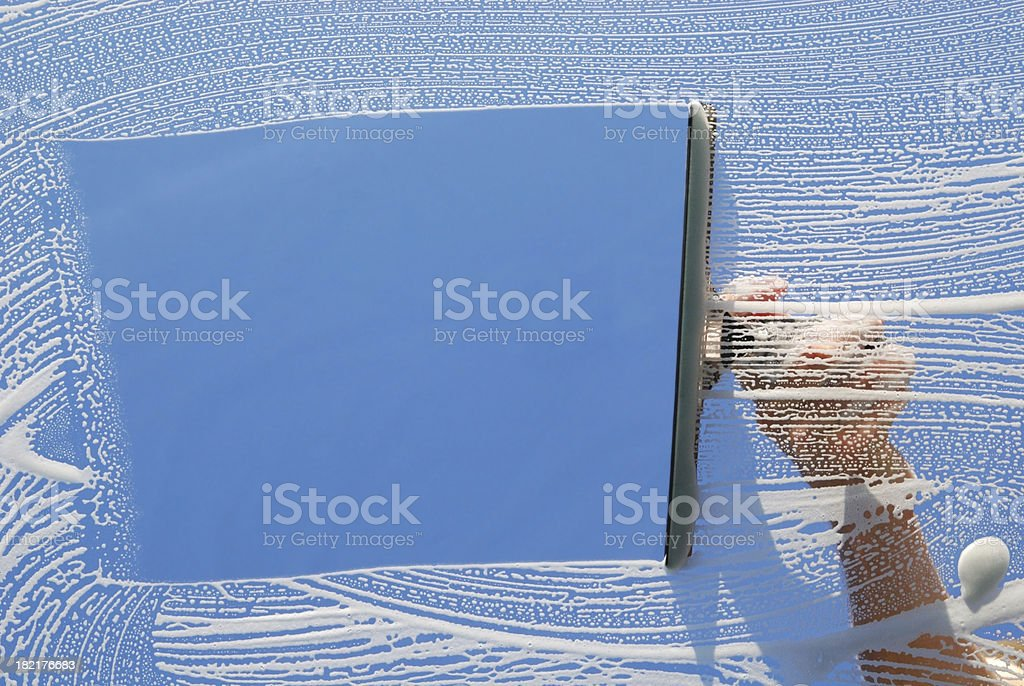Domestic Window Cleaner washing royalty-free stock photo
